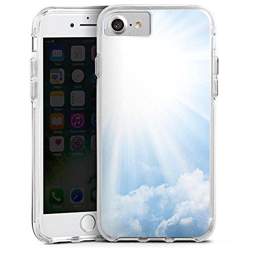 Apple iPhone 8 Bumper Hülle Bumper Case Glitzer Hülle Wolken Sonnenstrahlen Himmel Bumper Case transparent
