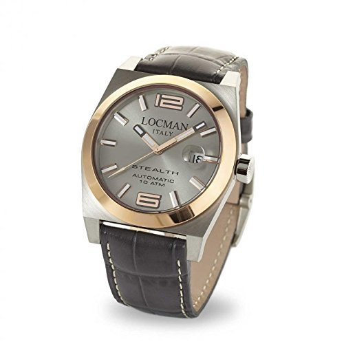 Watch Locman Stealth 02050rgyf5 N0psa Automatic Titanium quandrante Silver Leather Strap