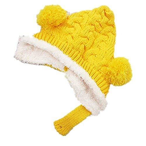 TheBigThumb Kleinkind Infant Winter Earflap Beanie Hut Unisex Warme Häkelarbeit Cap Pom Pom Hut für Baby Mädchen Jungen (Hut Aviator Kleinkind)