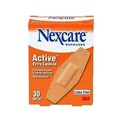 3M Nexcare Active Extra Cushion Flexible Foam Bandages 1 1 16 x 3 Adhesive - 30 bandages.
