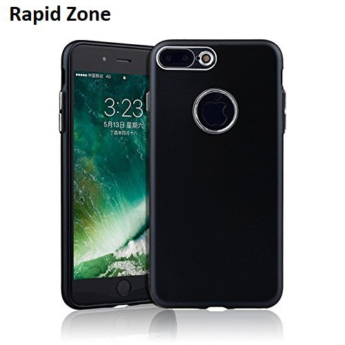 iphone 8 Plus (Combo Offer Free Tempered Glass)- 360 full Protective SILICONE COVER by Rapid Zone ,soft TPU Case with metal button,ultra-thin bag cover For iphone 8 Plus (2017 Model) (Black)