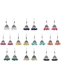 OranGey Fashion Multicolor Pure Brass Silver-Plated Combo Of 10 Jhumki Earrings For Women