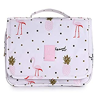 IGNPION Hanging Toiletry Bag Travel Organiser Make up Cosmetic Bag Portable Wash Bag for Women (White Flamingo)