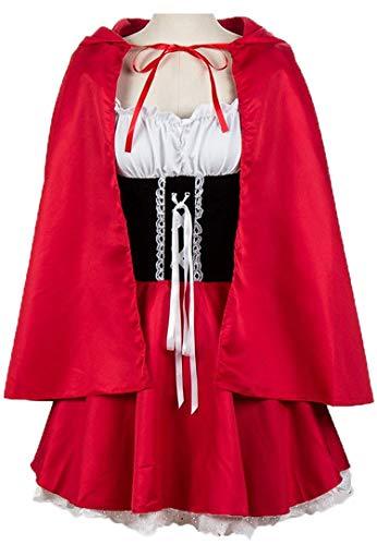 fasching kostueme damen maerchen Damen Faschingskostüme Karnevalskostüm Märchen Kostüm Anzug Kostüme Fasching Karneval Party Poncho Kleid Cape Sexy Minikleid Gr.34-52 (Rotkäppchen Kostüme für Damen, Etikett 2XL Für Größe EU42-44)