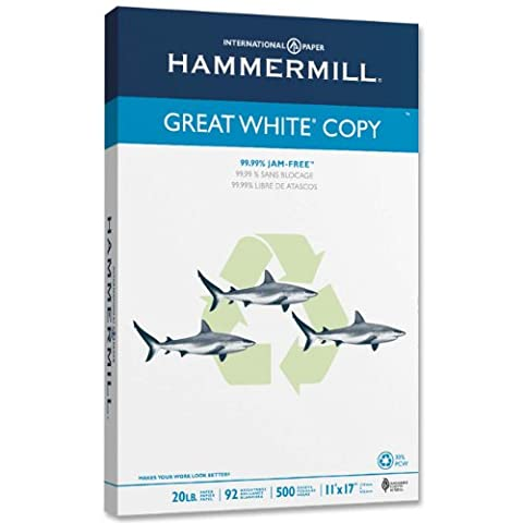Hammermill Paper, Great White 30% Recycled Copy, 20lb, 11 x