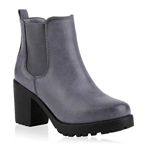 Booties Damen Stiefeletten Plateau Chelsea Boots Plateau Blockabsatz Leder-Optik Glitzer Schuhe 145965 Blau Grau Glatt 39 Flandell