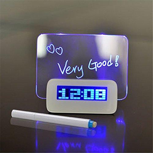 SLEMON LED Digital Uhr Wecker Multifunktions Fluoreszenz Nachricht Tafel Wecker mit 4 USB Hub/Kalender/Thermometer/Fluoreszierende Memo Board/Textmarker