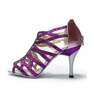 XIAMUO Anpassbare Women's Ballroom Dance Schuhe Paillette Latin Jazz Swing Salsa Sandalen Schuhe Heels Praxis Anfänger Gold