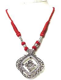 Mirracrafts German Silver Designer Pendant Necklace In Maroon