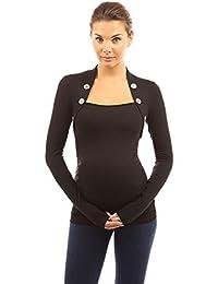 PattyBoutik Mama Top de maternité ruché orné de boutons