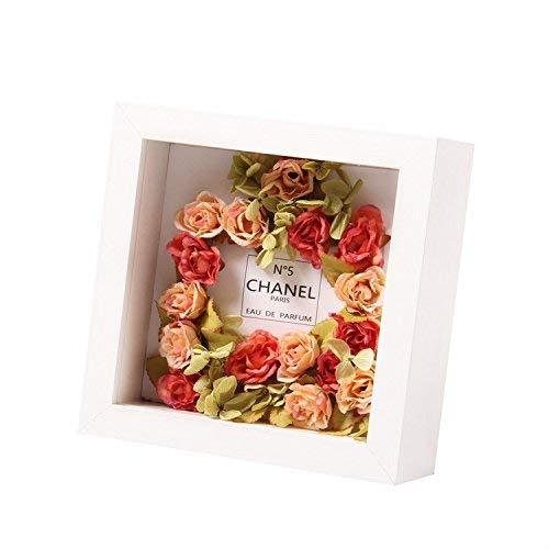 Zerone 20x20 cm Weiß 3D Box Holz Bilderrahmen -mit Passepartout -Innere Tiefe 3cm