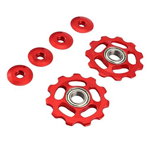 VORCOOL 2 Stücke Schaltröllchen Fahrrad Schaltwerk Riemenscheibe 11T Aluminium für Shimano (rot) -