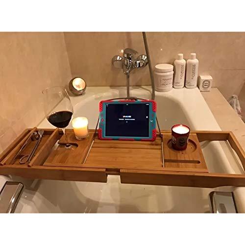 LwBathtub tray Porta Vasca da Bagno Caddy Bamboo Wood Shelf Shower Book Vassoio da Tavolo con Supporto Estraibile