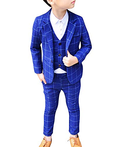 Cihui Completo dei Ragazzi del Cerimonia Vestito Convenzionale Giacca + Gilet + Pantaloni 3 Pezzi Blu 90CM
