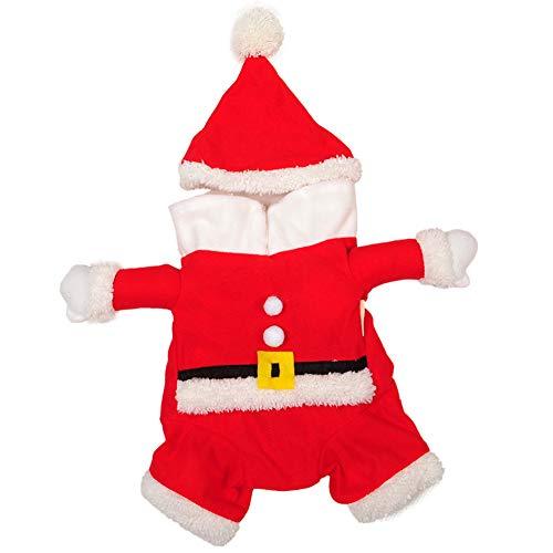 (DDG EDMMS Haustierkostüm mit Weihnachtsmann-Mütze und Hut, für den Winter, für Chihuahua, Yorkshire, Pudel, warme Jacke)