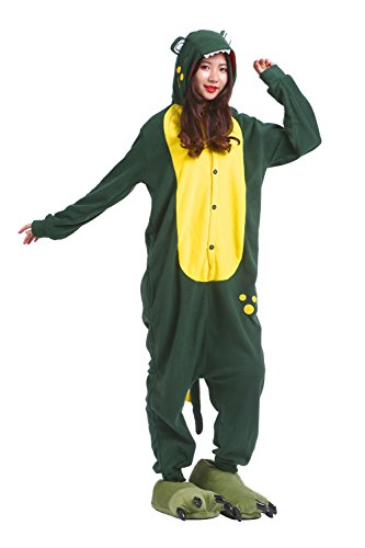 DarkCom Frauen Soft All In One Sleepsuit Cartoon Hoodies Schlafanzug Halloween Cosplay Kostüme Grünes Krokodil Medium