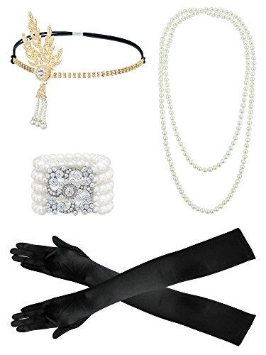 Fascia flapper anni '20accessori per donne, guanti, collana di perle