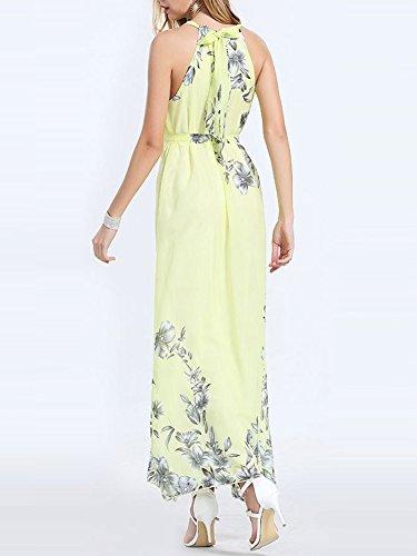 Damen Ärmellose Chiffon Blumen Maxi Langes Partykleid Strandkleid Elegant Cocktailkleid Gelb