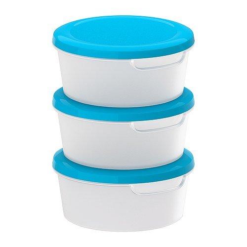 jämka Lebensmittelbehälter, TRANSPARENT WEIß, BLAU, 3 Stück, Größe 0, 5 L, mehrere leer Lebensmittelbehälter können ineinander gestapelt werden spart Platz in Ihrem Schränken.