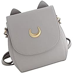Mengonee Women Girl PU bolso de hombro de cuero Messenger Crossbody Zipper Cat Ear Crescent ajustable bolso cuadrado