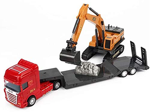 Delectation Baustellenfahrzeuge und Baustelle mit Vorratsbehälter, 6 Fahrzeuge - Turmkran, Zement-LKW, Bagger, Straßenwalze, Muldenkipper und Tankwagen (Flachbett LKW mit Bagger) (Tankwagen Spielzeug-lkw)