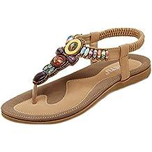 52c2aa097e09b Minetom Femmes de Bohême Simple Sandales été Tongs flip plat Flops Sandales  avec ...