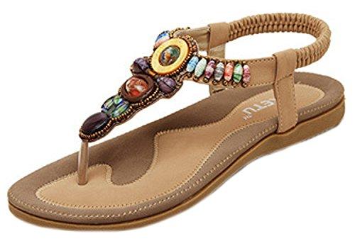Boemia Flop Singoli Vibrazione Sandali Minetom Color Piatto Di Della Donne Con Perline Di Kaki Estate Sandali TqPgtn
