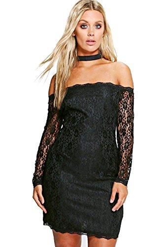 Schwarz Damen Plus Anna Bardot Lace Choker Bodycon Dress Schwarz