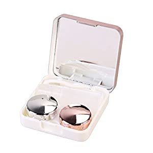 rosenice Kontaktlinsen Aufbewahrungsbox Container Container mit Spiegel für die Reise (Hellrosa)