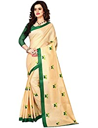 Dhruvi Trendzs Women's Khadi Cotton Printed Saree With Blouse Piece Material