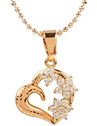 Ananth Jewels Heart Shaped Rose Gold Plated Pendant Necklace For Women - B073T3NWB5