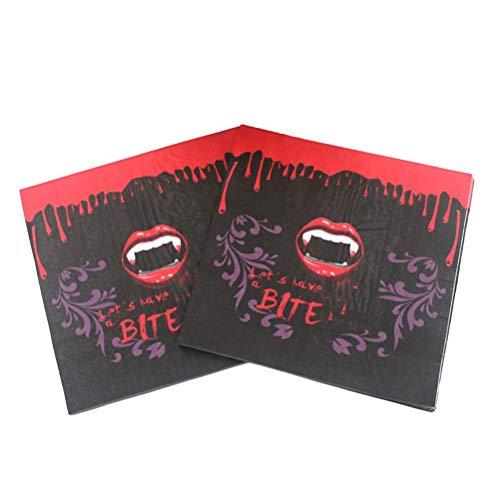 BESTOYARD Halloween-lustige Papierserviette-Blutige Rote Lippen-Zähne Graphicsfor Partei-Dekor-Versorgung, 100 Stücke Getränkecocktail-Serviette