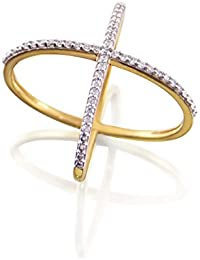 Silver Dew Fashion Ladies Criss Cross Ring In 925 Pure Silver Rhodium Plated