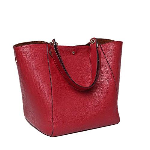 Donna Nuovo Stile Retrò Moda Grande Capacità Colore Solido Spalla Singola Red