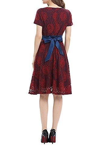 Damen Mode Faltenrock Reizvolle Rundhals Pullikleid Print Abschlusskleid Kurzarm Ballkleid SpitzehäKelarbeit Blusenkleider Taillenband Tunikakleid Rot