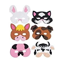 The Little Party Shop 12 x Childrens Eva Foam Farm Animal Masks Party Bag Filler Toys