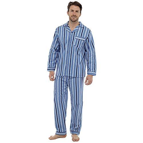 Mens, Die Traditionelle Flanell PJ Pyjama Set Nachtbekleidung PJ Schlafanzüge Sets Herren Baumwolle - Blau Streifen (238), Medium (Herren Flanell-pyjama Für)