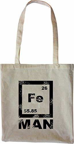 Mister Merchandise Tote Bag FE Man Iron Man Mathe Nerd Math Borsa Bagaglio , Colore: Nero Naturale