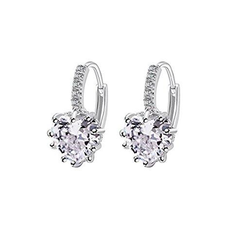 Charming Women's Sterling Silver Ear Hoop Earrings Ear Stud