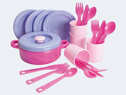 Dantoy Dinner Set for 4, Role Play Toys for Kids with 22 Pieces, Made in Denmark – Princess Pink