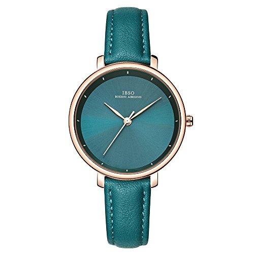 Einzigartiges Design Armbanduhr Damenmode Uhr Ultradünn Retro Quarz Analoges Lederarmband Damenarmbanduhr (6606 Green) (Einzigartig Uhren Damen)