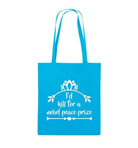 Comedy Bags - I'd kill for a nobel peace prize - Jutebeutel - lange Henkel - 38x42cm - Farbe: Schwarz / Silber Hellblau / Weiss