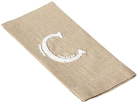 Initiale C Monogramm Hand auf French Knoten Leinen Gästetuch 53,3cm