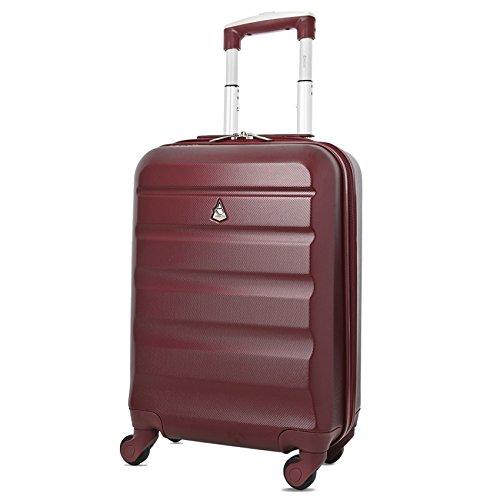 Aerolite Leichter ABS Hartschale 4 Rollen Handgepäck Trolley Koffer Bordgepäck Gepäck, für Ryanair, easyJet, Lufthansa und viele mehr, Weinrot