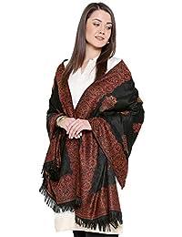 """Weavers Villa Women's Pashmina Wool Woven Soft Shawls, Wraps [Size: 40"""" X 80""""] (Black)"""