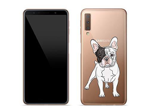 etuo Handyhülle für Samsung Galaxy A7 (2018) - Hülle Crystal Design - Mops - Handyhülle Schutzhülle Etui Case Cover Tasche für Handy