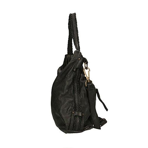 Chicca Borse Borsa a tracolla in pelle 37x27x14 100% Genuine Leather Nero