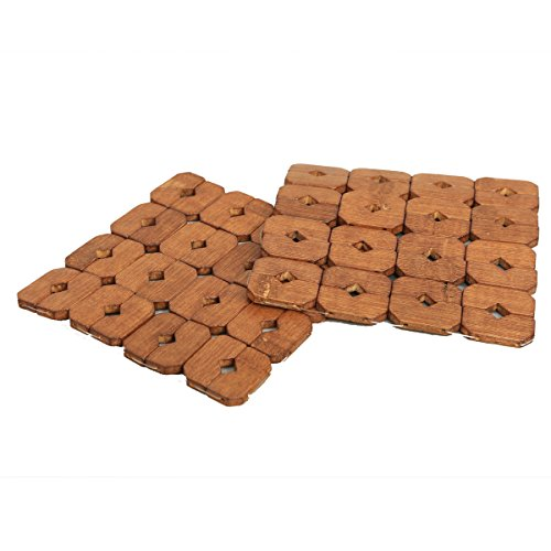 Kuber Industries™ Bamboo Wooden Coaster,Pan Pot Holder Heat Insulation Pad,Square 16 x 16 cm,2 Piece Set -KU123  available at amazon for Rs.299