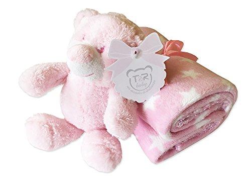Irpot - copertina stelle pile culletta + orsetto peluche rosa confezione regalo 12142