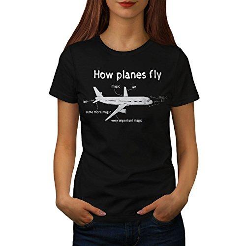 wellcoda wie Flugzeuge Fliege Frau XL T-Shirt (Frau Flugzeug Shirts)